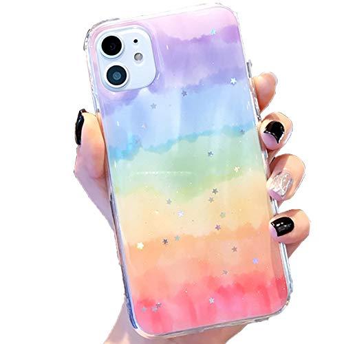 Funda Cover para Iphone11/11Pro/11Pro MAX Carcasa Glitter Arcoíris Star Linda Dama Bling Funda Protectora TPU Suave Caso Anti Choque Ultra Fina Silicona Back Cover,2,XS MAX