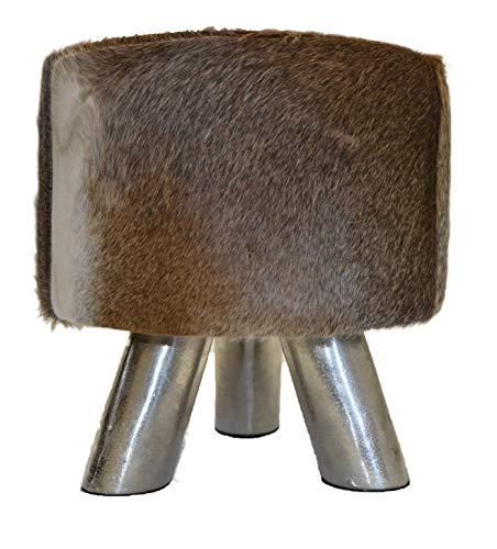 Tabouret design Cowskin Vache Vache Assise Gris Chaise Banc de pied en acier + Brillibrum Flyer, Tabouret – Gris (Brillant)