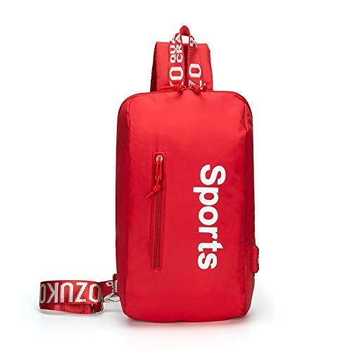 FANDARE Brusttasche Herren Damen Schultertasche 7.9 inch iPad Sling Bag Rucksack mit USB Umhängetasche Sporttasche für Wandern,Abenteuer,Sport, Reisen,Joggen Wasserdicht Polyester Rot