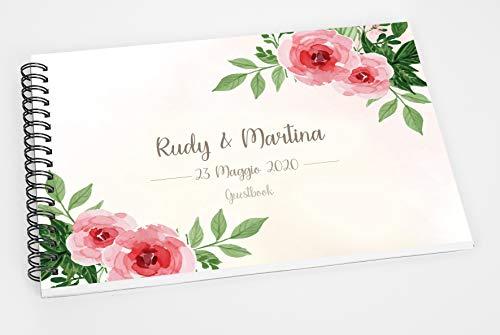 Guestbook matrimonio - libro dediche e auguri invitati personalizzato fiori acquerello