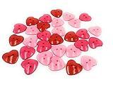 DIY Express 50 bottoni colorati in plastica a forma di cuore, colori misti, rosso, rosa, bottoni da 25 mm