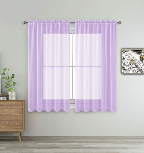 Lavender Purple Window Sheer Treatment Panels Beautiful Rod Pocket Voile Elegance Curtains Drapes for Living Room, Bedroom, Kitchen Fully Stitched, Set of 2 (Lavender, 63' Inch Long)