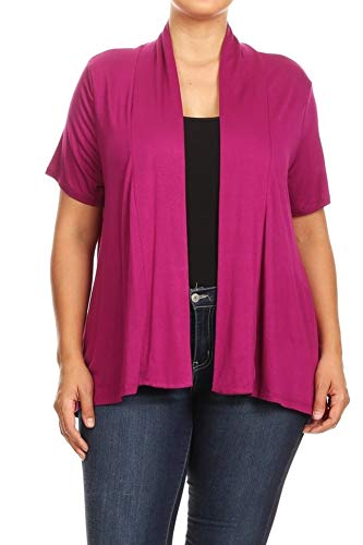 ShoSho Womens Missy Plus Size Solid Cardigan Kimono Casual Loose fit Sweater Tops Short Sleeve Light Weight Solid Berry 3X
