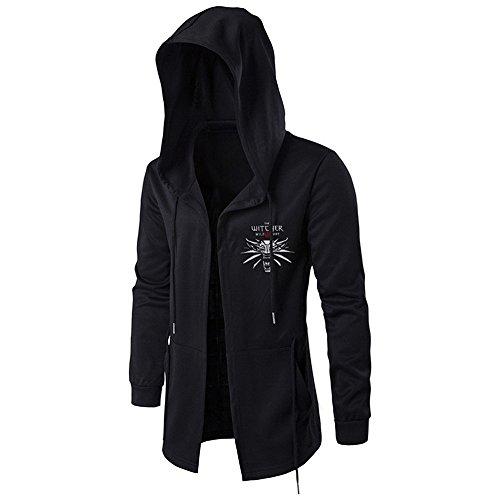 Jinlan Fuzhuang Hoodie Sweatshirt Assassins Cosplay Jacke Witcher mit Kapuze Wind Mantel für Männer (L, Schwarz 3)