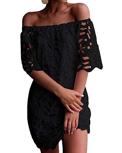 YOINS Donna Vestito Senza Spalle a Maniche Lunghe con Spalline Elegante Abito da Spiaggia Corto Abiti Motivo Estivo Floreale Sexy Nero-01 XS/EU32-34