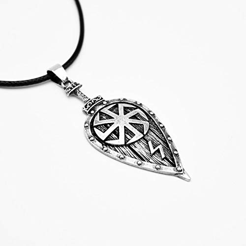 YioKpro 1 Uds Collar Vikingo eslavo símbolo Escudo Colgante Collar para Mujeres Hombres Amuleto joyería