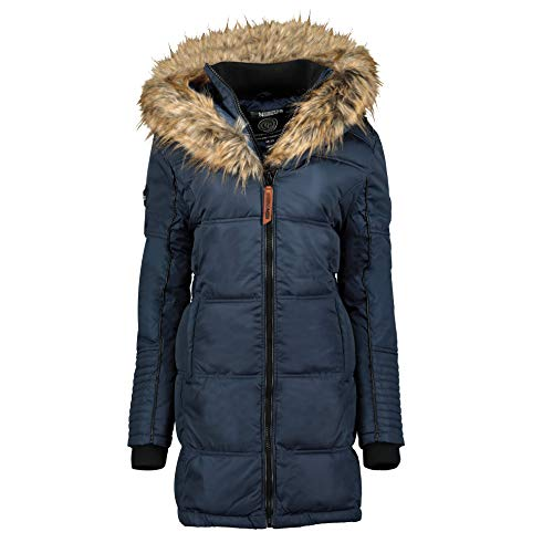 Geographical Norway Beautiful - Piumino da donna, con cappuccio in pelliccia navy Small