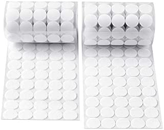 Heze 1000 pcs (500 Pair Sets) 20mm Diameter Sticky Back Coins Hook & Loop Self Adhesive Dots Tapes (White)