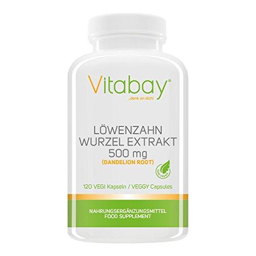 Löwenzahn Wurzel Extrakt 500 mg (Dandelion Root) - 120 Vegi Kapseln - Harntreibend - Entwässernd