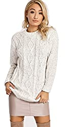 Ladies Womens New Chunky Diamond Cable Knitted Long Sleeve Sweater Pull Over Jumper Top Womens Cable Knitted Fashion Jumper Perfect Clothing for Winter/Christmas Fold Over Long Sleeves Chunky, Cable Knit