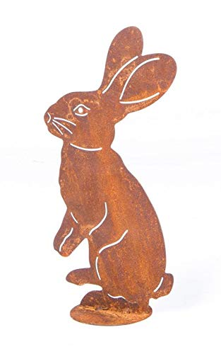 Tuindecoratie Paashaas haas staand op plaat dier metaal roest decoratie Pasen verroest 25 cm hoog
