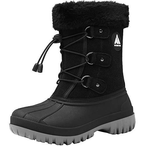 Mishansha Botas de Invierno para Niño Cálido Forrados de Piel Cómodo Winter Boots Impermeables Bota Media Anti-Deslizante Cuero Zapatos de Nieve Clasicas Botines Casual, Negro 36