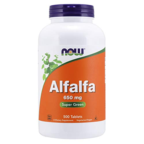 NOW Supplements, Alfalfa 650 mg source of Vitamin K, Green Superfoods, 500 Tablets