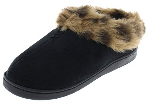 Capelli New York Ladies Microsuede Indoor Clog with Leopard Printed Trim Black Combo XL