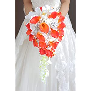 IFFO New Bridal Bouquet, Wedding Flowers, Calla Lilies, Artificial Flowers, Waterfalls, Water Drop Style, Collection Decorations (Orange)