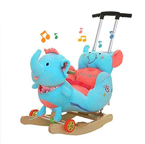 JTYX Kinderen houten paard schommelende paard baby schommelstoel massief hout met muziek schommelende wiegen kinderen verjaardagscadeau