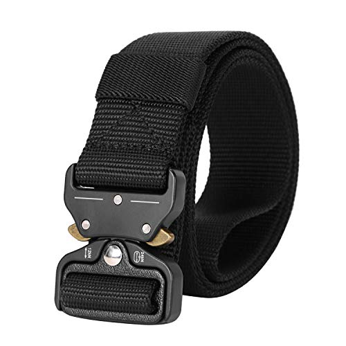 Mens Tactical Belt SANSTHS Heavy Duty Nylon Belt 1.5in Riggers Belt Military Webbing with Quick Release Metal Buckle (A-Black, Suit waist 40-46in)