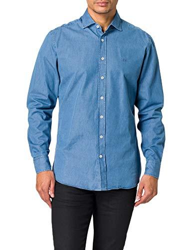 Hackett London Clean Denim Camisa, 000denim, L para Hombre