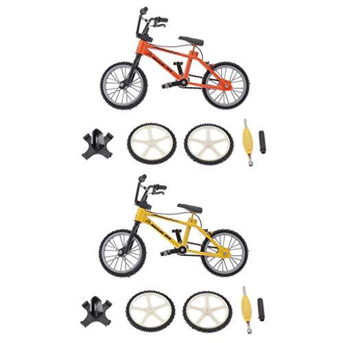 HomeDecTime Bici da Dito in Lega Modello BMX Giocattolo per Bambini Tastiera Arancione + Gialla