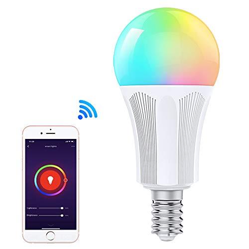 Orbecco WLAN Smart LED Lampe, E14 9W Mehrfarbige RGB Licht Dimmbar Glühbirne, APP-Fernbedienung, Sprachsteuerung, Kompatibel mit Alexa Echo Google Home, ohne Hub Benötig