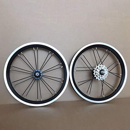MZPWJD Juego Ruedas Bicicleta BMX 14 16 Pulgadas Freno Llanta Rueda Delantera Y Trasera Bicicleta Plegable con Piñón 9 13 17T Cubo Cojinete Sellado 940g (Color : Black, Size : 16inch)