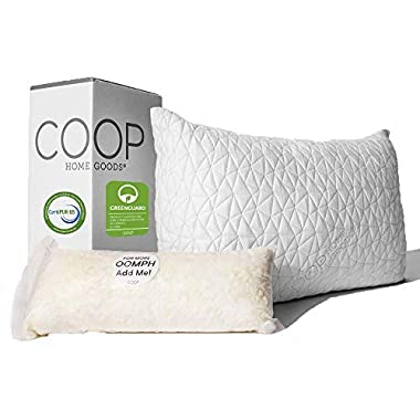Coop Home Goods, Original Adjustable Loft Pillow, Hypoallergenic Shredded Memory Foam & Microfiber, Lulltra Washable Cover from Bamboo Derived Rayon, CertiPUR-US/GREENGUARD Gold Certified, King