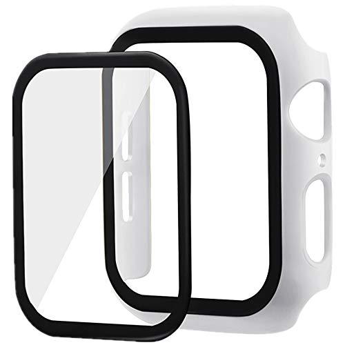 Yrzper - Funda para Apple Watch + Cristal Protector de Pantalla Series 4/5 44 mm/40 mm iWatch Muy Fuerte PC Case con Pet Protector de Pantalla Cover para Apple iWatch 40 mm/44 mm Blanco Talla única
