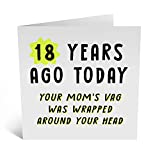 Central 23 - Funny 18th Birthday Card for Her - '18 Years Ago, Your Mom's Vag…' - 18th Birthday - Daughter Birthday Card - Son Birthday Card - Comes with Fun Stickers