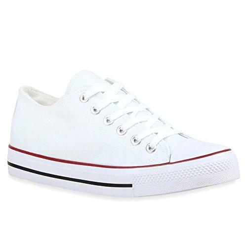 stiefelparadies Damen Schuhe Sneakers Sportschuhe Freizeit Stoffschuhe 69904 Weiss Rotstreifen 38 Flandell