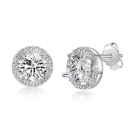 Nykkola - Pendientes redondos de plata de ley 925 con cristales brillantes para mujeres y niñas, pendientes de plata de ley
