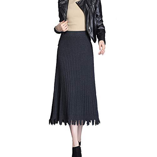 Falda Plisada Tejida para Mujer Otoño E Invierno Nueva Cintura Alta PéNdulo Grande A-Palabra Falda Larga De Color Sólido Grey-OneSize