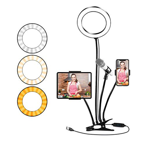 JUJUN 8in Led Selfie Ring Light with Phone Holder & Tablet Holder & Microphone Holder Stand, 3 Lighting Modes and 10 Brightness Level for Makeup & YouTube Video & Live Stream