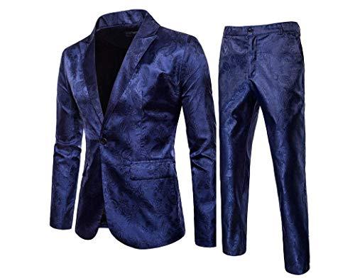 Ensemble de Costume 2 pièces à Paillettes pour Hommes de différentes Couleurs et Tailles Joli Blazer et Pantalon pour Mariage Boîte de Nuit, Party (Bleu, XXL)