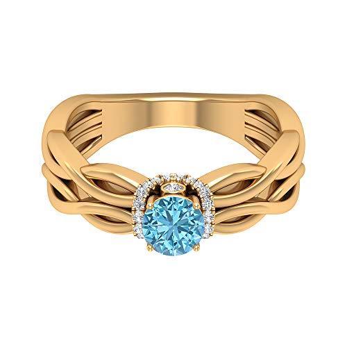 Anillo de aguamarina solitario de 1/2 quilates, 1/3 quilates, anillo de halo de diamante HI-SI, anillo de compromiso de oro (aguamarina redonda de 5 mm), 14K Oro amarillo, Size:EU 65