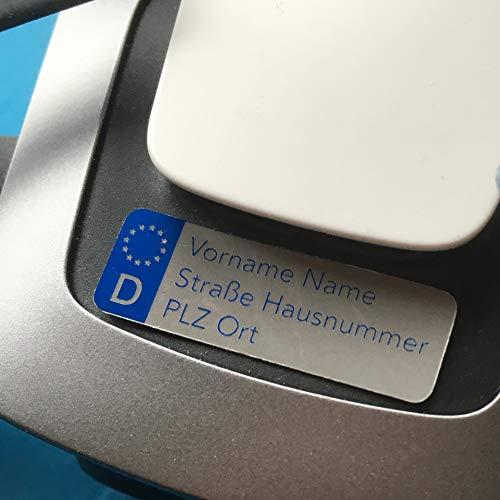 Roboterwerk Fahrzeug-Kennzeichen für Drohnen, Plakette wie auf KfZ - feuerfest, leicht, klein (KfZ-Kennzeichen)