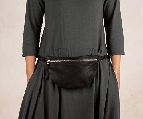 Riñonera de cuero negra, riñonera negra mujer, riñonera piel suave, bolso de cadera mujer, bolso de cadera piel