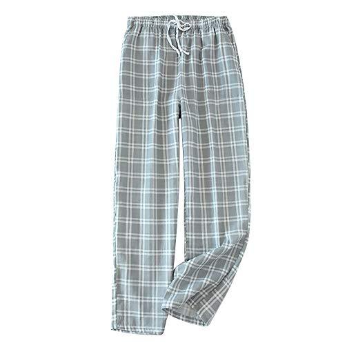 MoneRffi Herren Karierte Hose Schlafanzughose Plaid Pyjama Bottoms Schlafhose Männer Nachtwäsche Loungwear Hose(Y-grau?M)