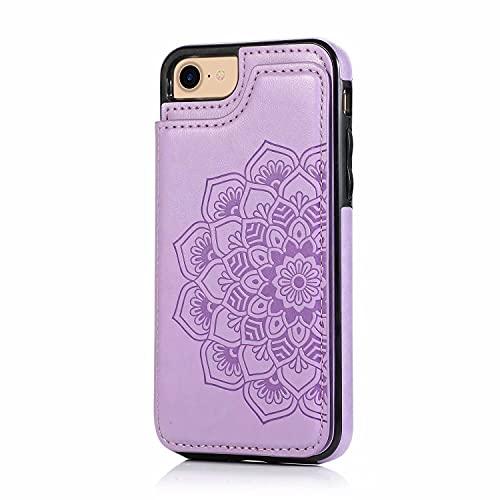 Lijc Compatible con Funda iPhone 6/6S Botón Doble Mandala En Relieve PU Cuero Tarjeta Bolsillos [Ranura para Tarjetas] [Soporte Plegable] Antigolpes Flip Caso-Púrpura