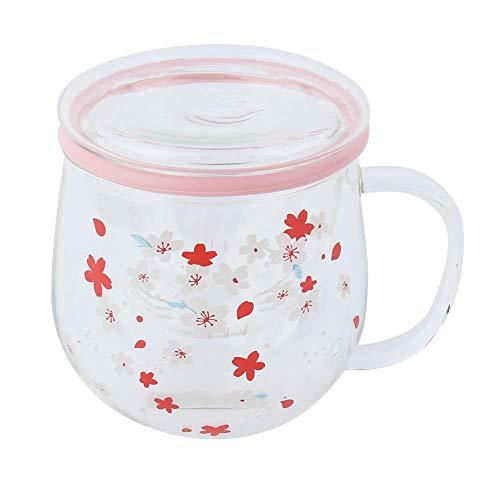 Taza de cristal resistente al calor transparente de 300 ml con tapa de filtro de té Taza de té Tetera de vidrio