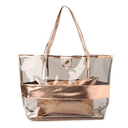 LANDUM Damen-Handtasche, transparent, Einkaufstaschen, Gelee, transparent, Strandtasche, Schultertasche, Hot Pink, champagnerfarben, 38x11x32cm/14.96x4.33x12.6