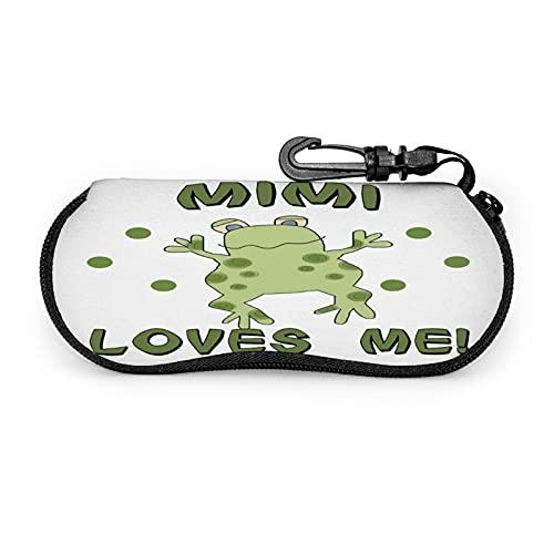 Mimi Loves Me Frog Baby Funda Protectora Unisex , para Gafas Gafas de Sol , Estuche Blando Estuche para Gafas con Cremallera , con Clip para cinturón