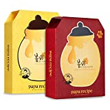 Papa Recipe Bombee Sheet Mask, Korean moisturizing honey mask pack for dehydrated and sensitive skin. 20 sheets (Honey+Ginseng Red)