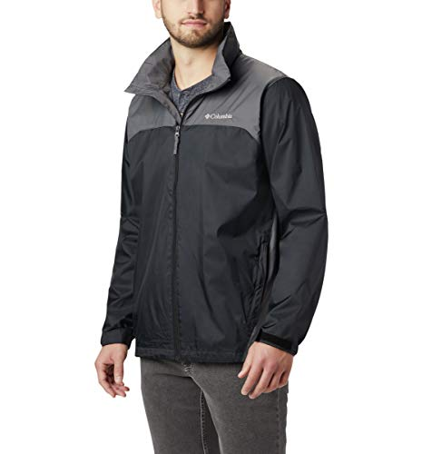 Columbia Men's Glennaker Lake Front-Zip Rain Jacket with Hideaway Hood, Black/Grill, X-Large