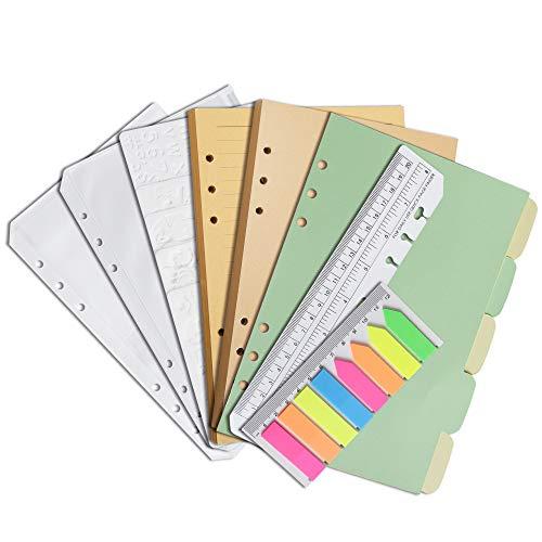 Wonderpool Recambios de hojas sueltas de papel kraft para 6 cuadernos de anillas, 320 páginas con línea/sin forro, con bolsa, plantillas, divisores, marcadores (A5)