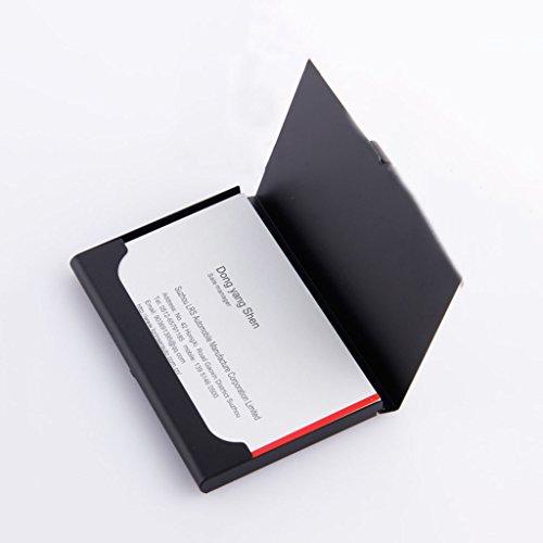 Tarjeteros Portatarjetas de metal caja de tarjeta ultra ligera de negocios para hombres paquete de tarjeta de visita delgado femenino caja de almacenamiento de tarjeta de visita simple de titanio negro ( Color : Black , Size : 5.8*9.3cm )