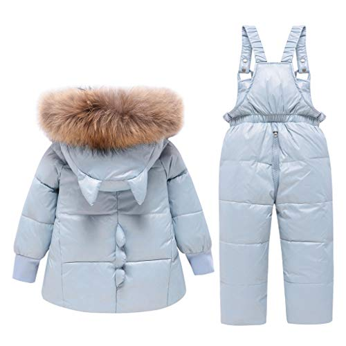 2 Piece Baby Winter Snowsuit Puffer Down Jacket Girls Boys Hooded Fur Trim Zipper Coat with Snow Ski Bib Pants Blue 2-3 Years