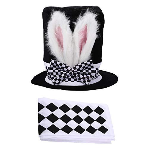 Kisangel Sombrero de Pascua con Pantalones de Oreja de Conejo Sombrero Blanco de Peluche de Conejo para Disfraces de Fiesta de Pascua Accesorios