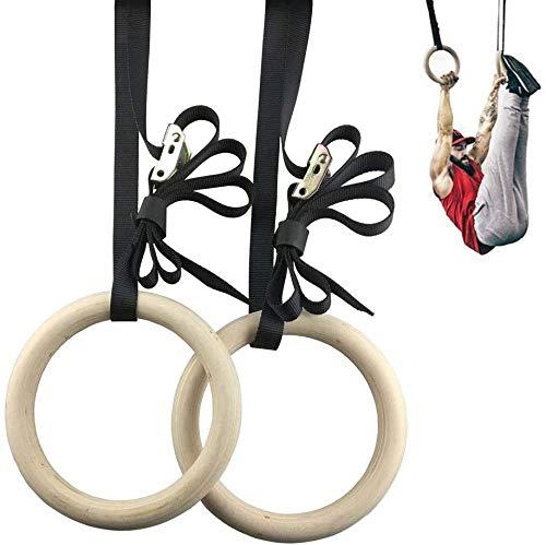 FOOING Holz Gym Ringe Gymnastikringe Trainingsringe, Olympische Gymnastik Holzturnringe Turnringe für innen und Außen, Holzringe beim Training Fitness Training (Gym Ringe 32 * 25mm)