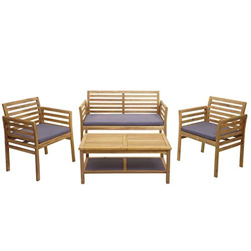 Mendler Gartengarnitur HWC-E99b, Sitzgruppe Balkon-Set Lounge-Set, Akazienholz massiv - Kissen dunkelgrau