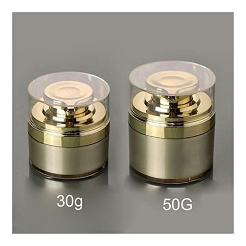 2 Unidades por Lote 30g 50g De Color Oro Sin Aire Cosmética Crema Ronda De Contenedores Presionados Bomba Convenient (Color : 30g and 50g)
